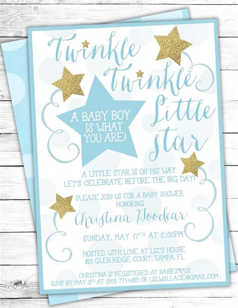 Twinkle Twinkle Baby Shower Invites by Blue Gold Twinkle Twinkle Baby Shower Invites