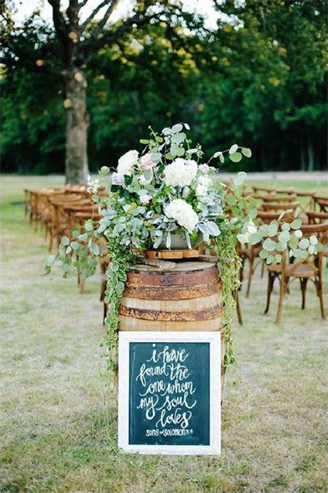rustic backyard wedding ideas rustic whiskey barrel backyard wedding aisle decor deer