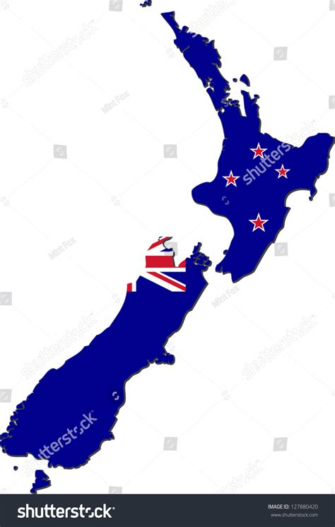 Address Lookup Nz Map Of New Zealand With National Flag Isolated On White Background Stock Vector