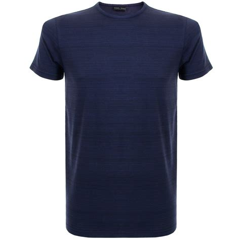 Navy Tshirt nigel menswear printed stripe navy t shirt