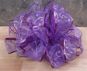 wired ribbon christmas bow purple w purple amp silver
