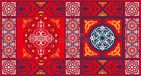 egyptian tent fabric pattern  red stock vector