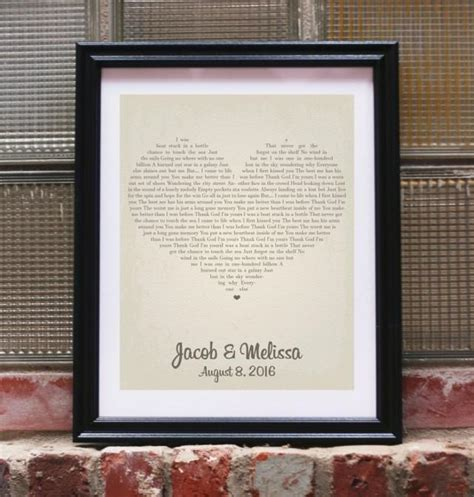 Wedding Song Lyrics Gift by Wedding Gift Song Lyrics Personalized Wedding Gifts For