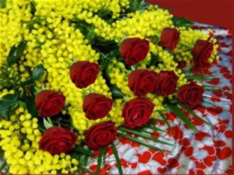 mazzo di fiori con mimose con mimose magenta