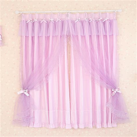 romantic lavender curtains with bow tie designs