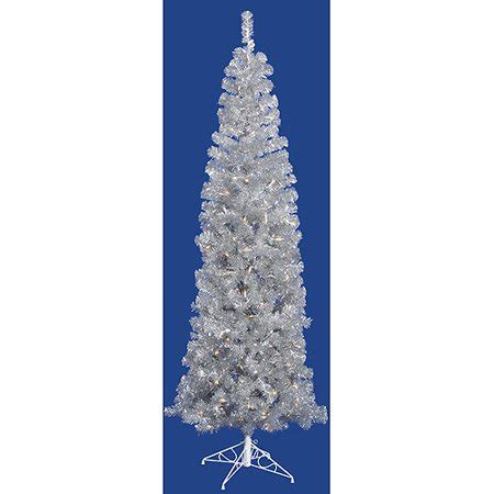 walmart online shopping pencil prelit trees pre lit 5 5 x 22 quot pencil artificial tree silver clear lights walmart