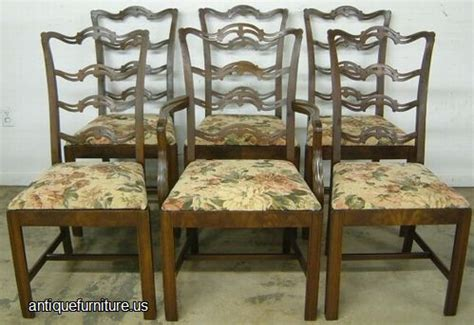 Dining Room Furniture Auctions Antique Set 6 Mahogany Ribbon Back Dining Chairs At