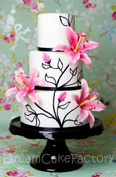 pink lilies   black  white cake cakecentralcom