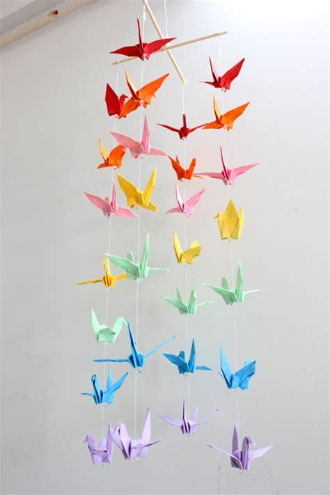 How To Make A Paper Mobile For Nursery - baby crib mobile origami paper crane amazing colorful rainbow