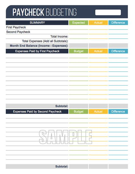 Paycheck To Paycheck Budget Spreadsheet by Paycheck Budgeting Worksheet Editable Personal Finance
