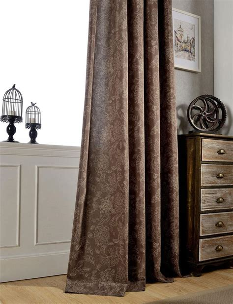 dark brown patterned curtains vintage style curtains flower pattern semi light shading