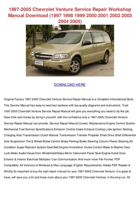 car repair manuals online pdf 1999 chevrolet express 1500 head up display 1997 2005 chevrolet venture service repair workshop manual download 1