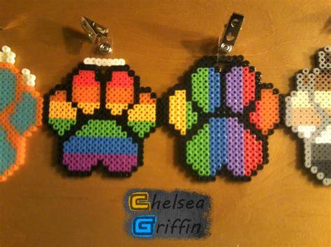 perler bead rainbow paw print perler bead badges weasyl