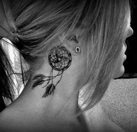 dream catcher tattoo on neck girl side neck dreamcatcher tattoo for girls