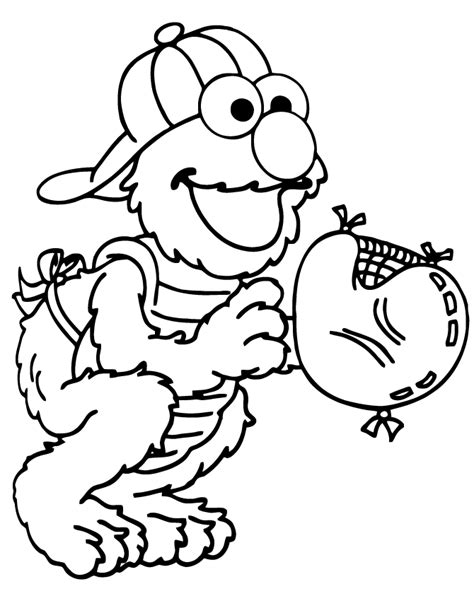 Baseball Catcher Elmo Coloring Page   H & M Coloring Pages Elmo Face Coloring Page