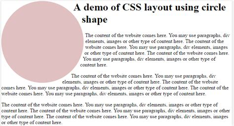 creating css circle free templates of css layout by using shapes