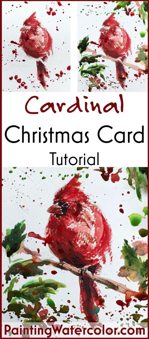 watercolor tutorial christmas 12 days of christmas cards cardinal
