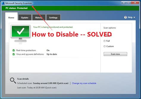 how to disable microsoft security essentials temporarily
