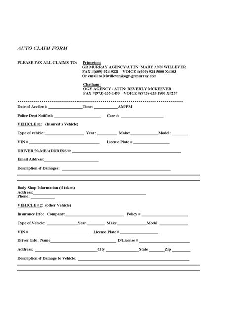 insurance claim form template car insurance claim form 2 free templates in pdf word