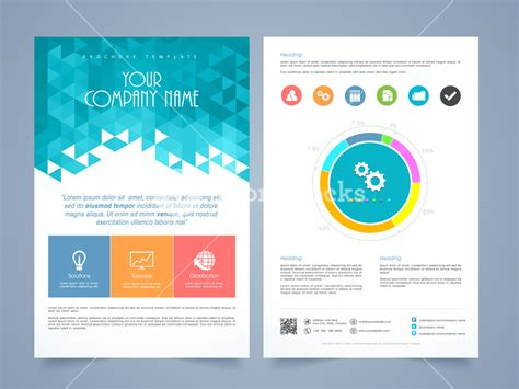 Creative Two Page Business Flyer Template Or Brochure Design With Different Infographics 1 3 Page Flyer Template