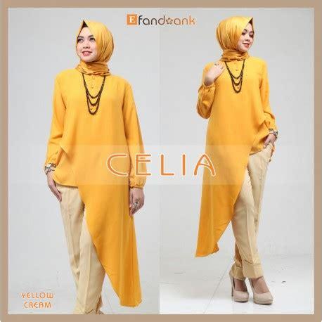 Celia Tunik celia yellow baju muslim gamis modern