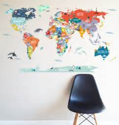 map of the world stickers for walls kitchen dining