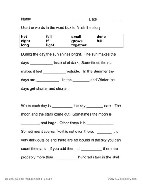 Cloze Reading Worksheets by Worksheet Cloze Worksheets Caytailoc Free Printables