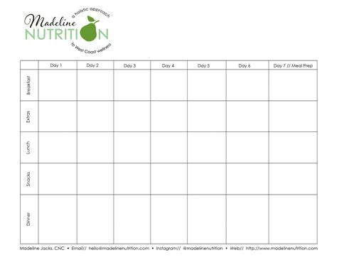 diet calendar template 40 discount on nutrition plan template