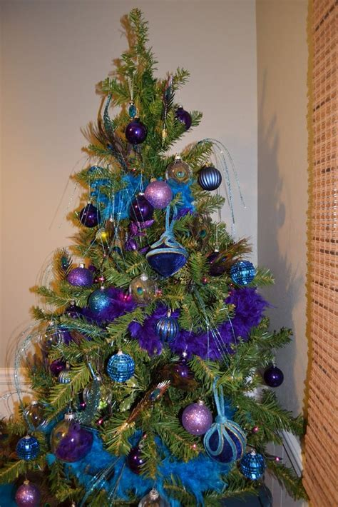 blue and peacock christmas tree peacock christmas