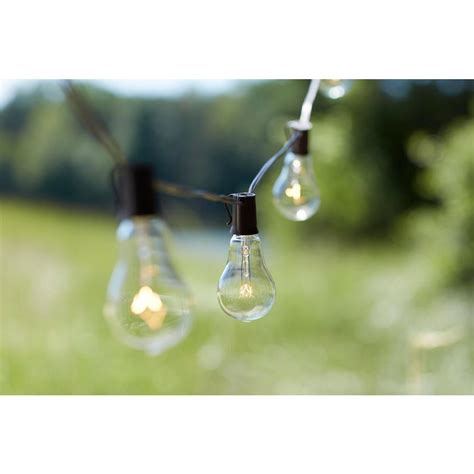 Edison Bulb Outdoor String Lights Edison 10 Light Outdoor Decorative Clear Bulb String Light Kf01615 The Home Depot
