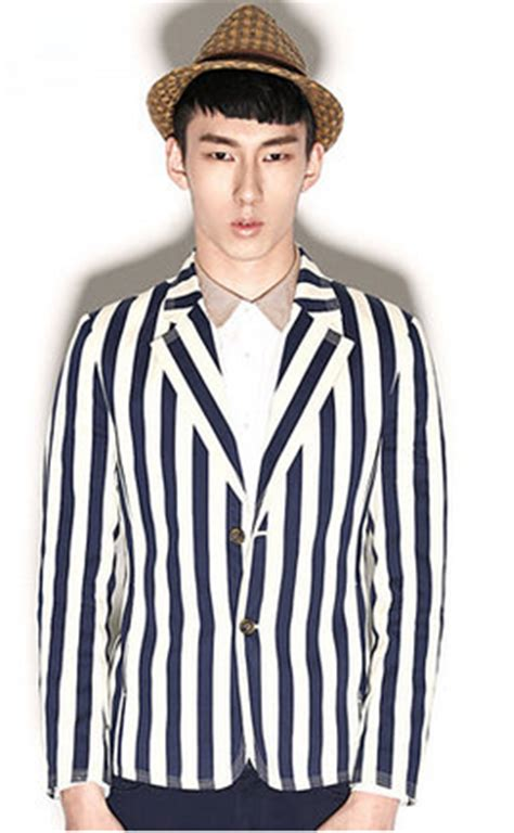 Striped Suit Blazer casual striped blazer suit jacket navy blue white pilaeo