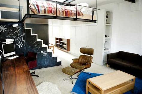 bachelor apartment features  bed suspended