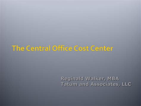 Tu Mba Cost by The Central Office Cost Center