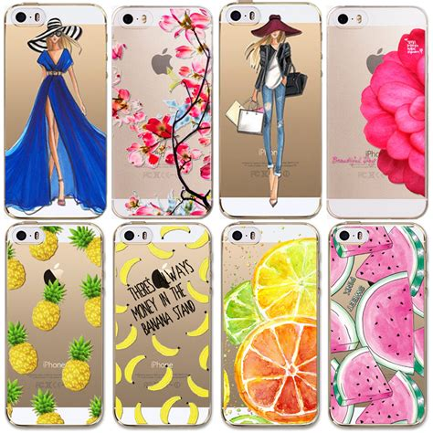 Softcase Flower Gril For Iphone5 for apple iphone 5 5s se cases soft tpu flowers friuts lemon painted phone bag fundas