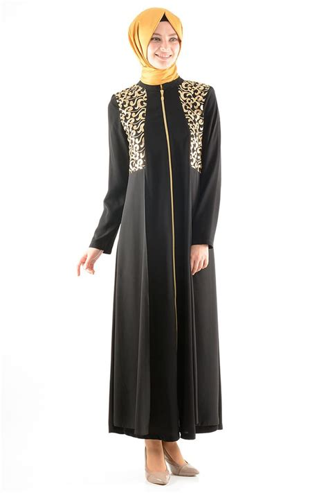 Dress Wanita Maxi Dress Muslim Arsita black and gold maxi dress jilbab abaya with sleeves black modest dress black islamic