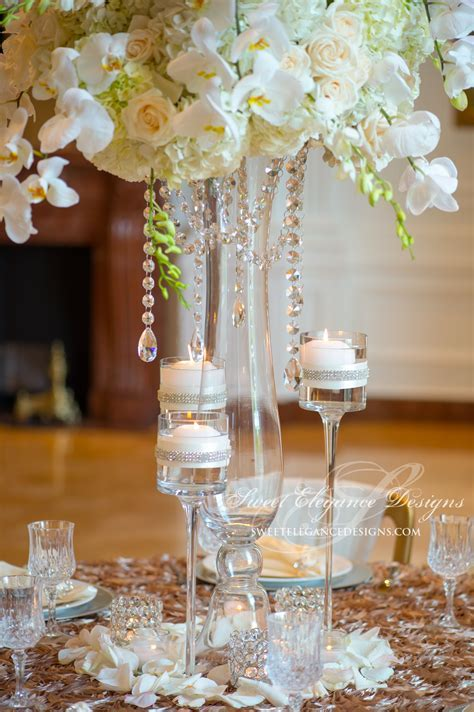 white centerpiece, crystal garland centerpiece, elegant