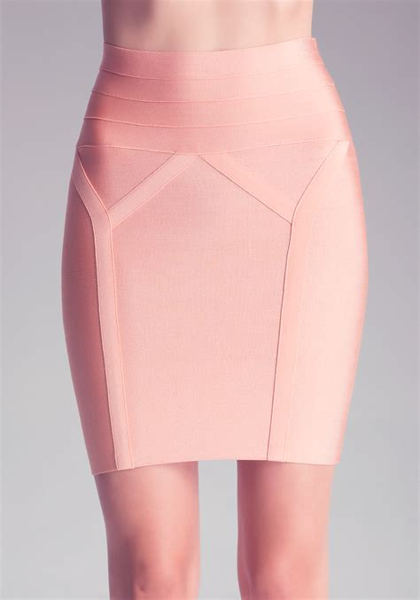 bebe high waist bodycon skirt in pink lyst