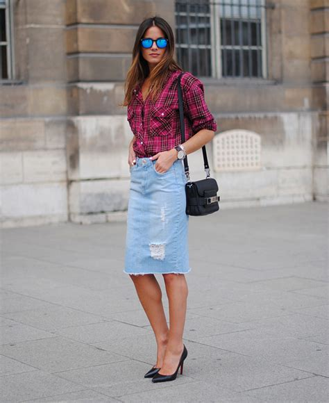 denim pencil skirt style