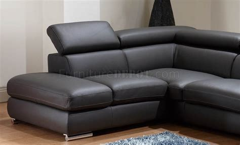 dark couch dark grey leather modern sectional sofa w adjustable headrests