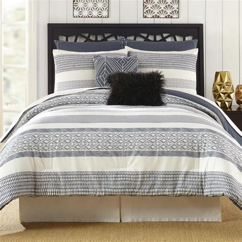 presidio square deco 7 piece stripe queen comforter set