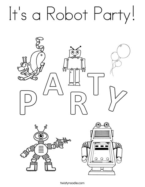 red robot coloring page its a robot party coloring page coloring page party hat