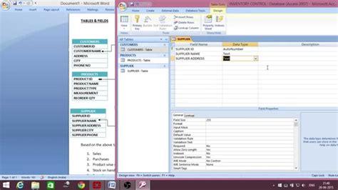 ms access inventory management database creation telugu