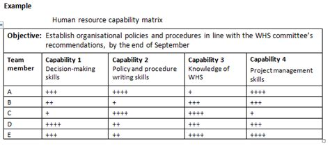 Manage Operational Plan Human Resource Capability Matrix Business Capability Matrix Template