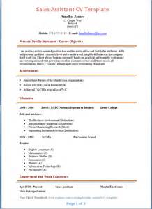 Sle Of A Cv Resume by Sales Assistant Cv Exle