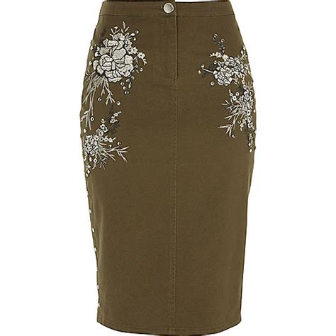 khaki green embroidered pencil skirt midi skirts