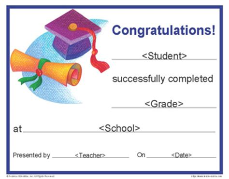 Printable Graduation Certificate Customizable End Of