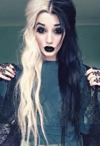 black and white hair color half black half white hair and black makeup and