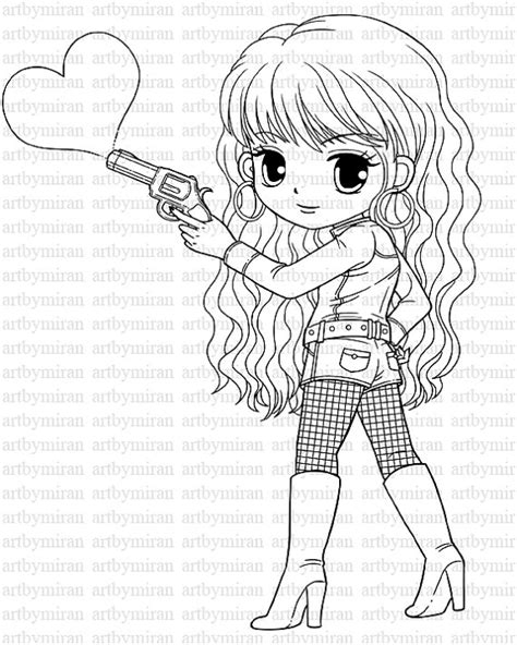 digi st love shot pretty girl coloring page heart by
