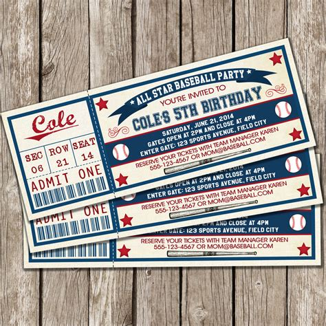 vintage baseball card template vintage baseball ticket invitation baseball birthday