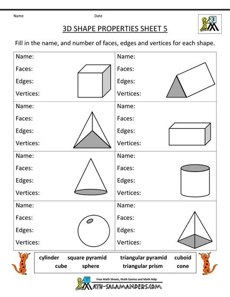 Faces Edges And Vertices Worksheet